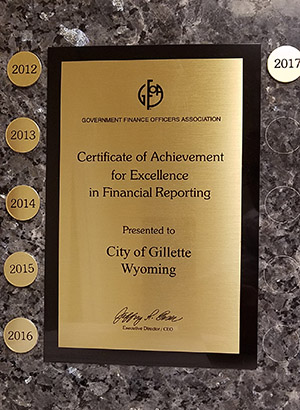 City of Gillette Finance Division Earns Highest Achievement